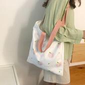 水蜜桃粉色包包少女学生日系ins百搭布袋包单肩帆布包女 倪酱小铺图片
