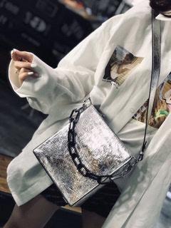 韩版东大新款时尚真皮女包宽肩带单肩斜挎手提包链条包竖款方形包