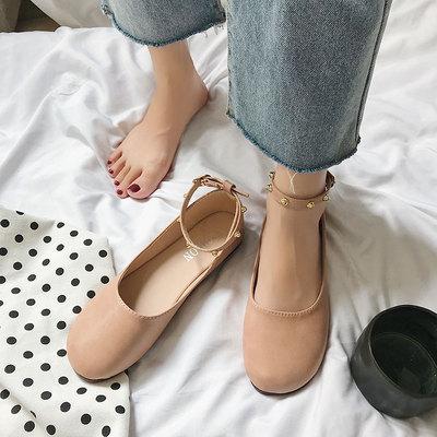 豆豆鞋女2019春季新款韩版百搭平底学生一字扣单鞋女鞋软底奶奶鞋