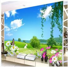 大型3D立体田园风景壁画窗外风景自然清晰餐厅客厅电视背景墙壁纸