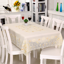 PVC Table Cloth Waterproof, Oil-proof, Iron-proof and Washless Nordic Table Cloth, Lace Mesh, Red Rectangular Tea Table Cushion for Household Use