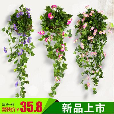 仿真植物仿真牵牛花壁挂花藤吊兰花吊顶假花装饰花藤阳台吊篮盆栽