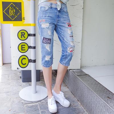 昕蓝大码女装200斤胖mm2018夏装新款时尚布贴手工磨毛七分牛仔裤
