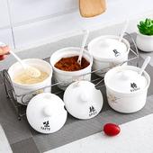 调料罐瓶作料盒油盐罐带盖子勺子厨房用具 创意陶瓷调味罐调味瓶