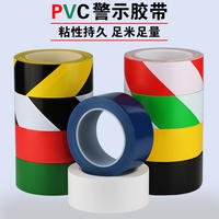 PVC warning black yellow zebra line warning landmark stickers ground 5S logo red and white color marking floor glue bandwidth