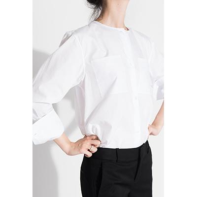 Ms MIN白色圆领口袋衬衫