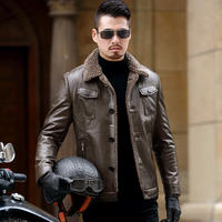 Men's Haining leather leather men's jacket sheep fur one coat middle-aged plus velvet thick winter daddy