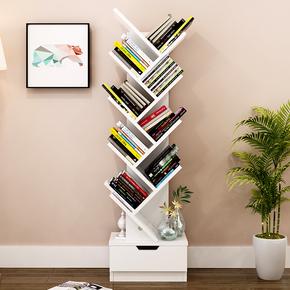 家创意简约学生书柜树形书架 角落儿童落地卧室客厅置物架