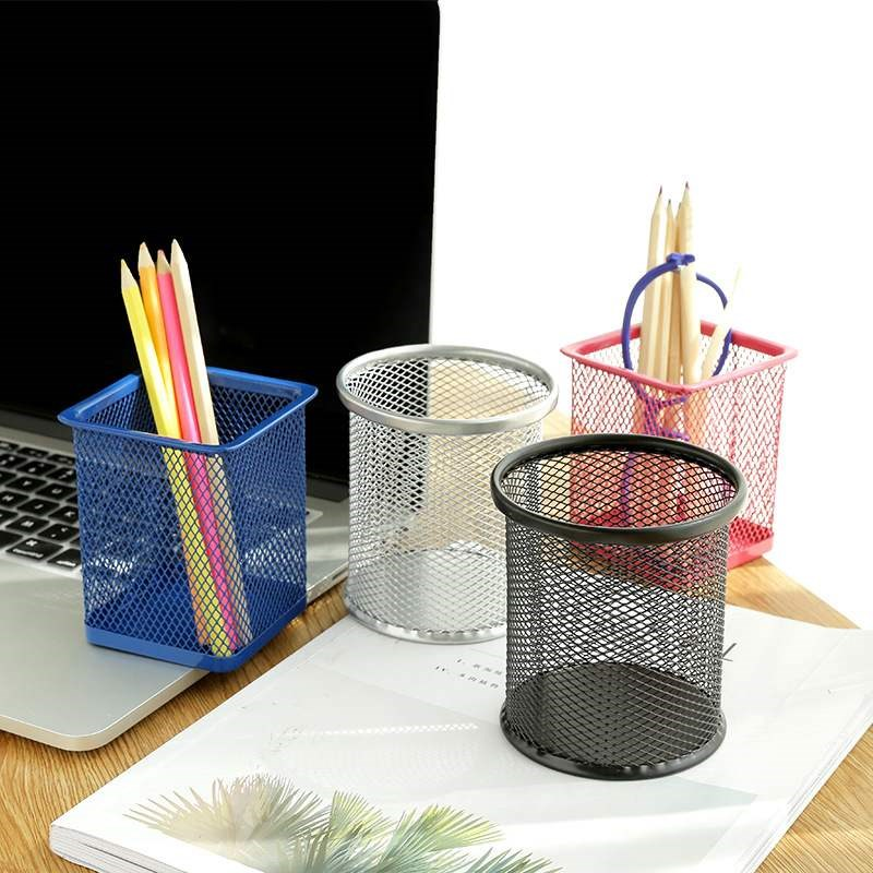 1391创意镂空网格金属笔筒多功能可爱韩国学生桌面收纳办公用品