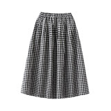 Children's plaid skirt small medium and large girls summer and summer thin pleated breathable cotton wild half-length princess dress