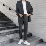 Casual suit men's tide summer thin suit suit men's British wind double-breasted loose Korean version of the trend handsome