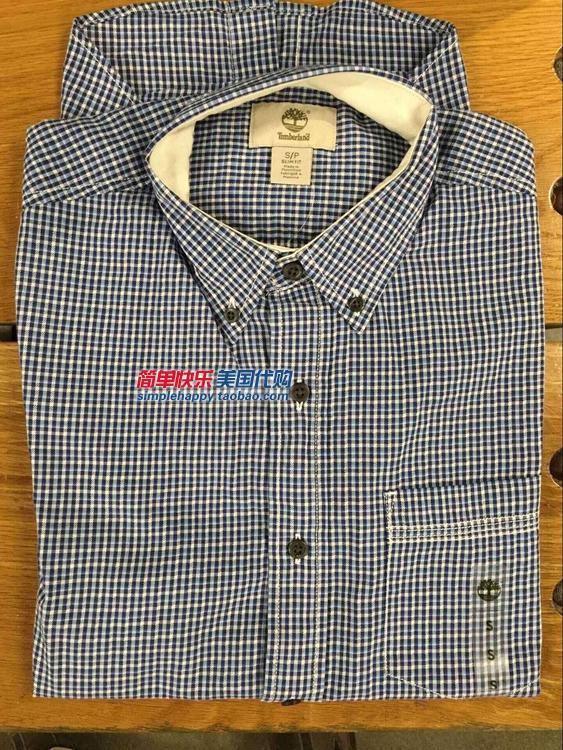 现货Timberland 男士格子商务时尚短袖衬衫衬衣