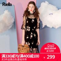 港风连衣裙女夏装2018春季新款复古收腰性感网纱黑色短袖套装裙子