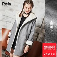 2017春装新款韩版连帽呢子大衣仿皮毛一体矮个子中长款毛呢外套女
