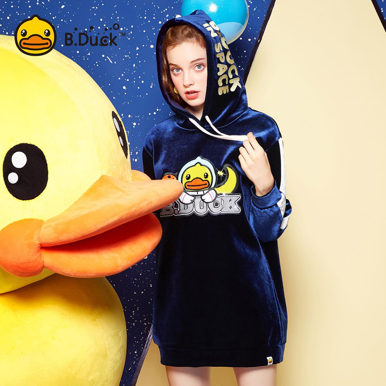 B.Duck小黄鸭女装2017秋季新款丝绒原宿风chic中长款连帽卫衣潮1元优惠券