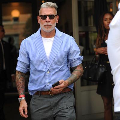 nick wooster时尚西装领衬衣条纹衬衫男长袖 宽松 日系复古薄款潮
