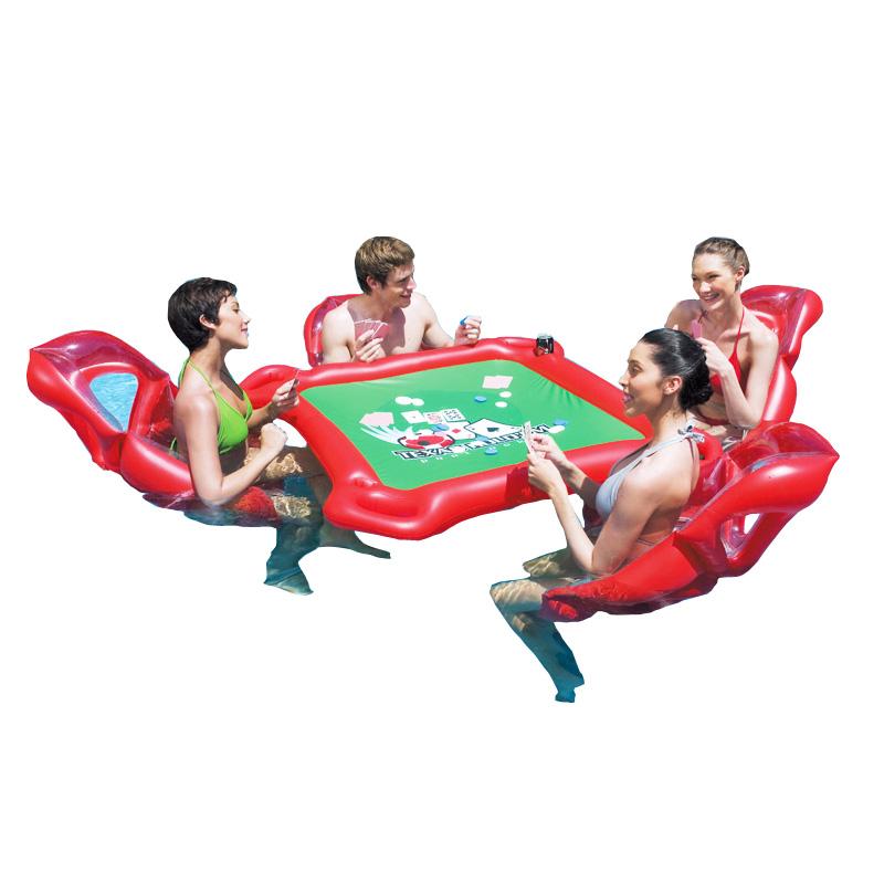 户外水上成人麻将桌椅浮床游乐园儿童充气玩具加厚温泉游泳池棋牌