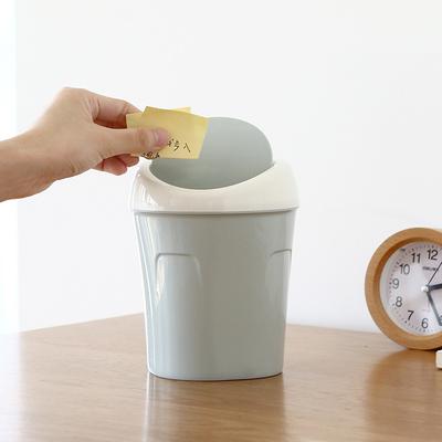 凤全桌面摇盖小号垃圾桶客厅茶几纸篓塑料创意家用桌上迷你垃圾筒