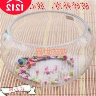 扁圆口鱼缸睡莲碗莲容器水培花盆透明玻璃瓶24特大号鱼缸
