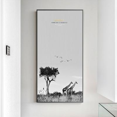 北欧玄关装饰画竖版画风景挂画壁画现代简约客厅墙画餐厅自然草原