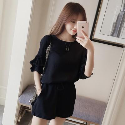 2018夏天新款时尚短袖雪纺套装女装夏季韩版时髦气质短裤两件套潮
