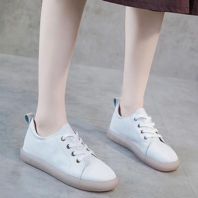 系带单鞋女2019秋款新款低帮鞋女小白鞋牛筋底森女日系软底软皮鞋