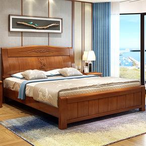 现代简约经济型1米8双人实木高箱橡木床环保家具原创设计新品
