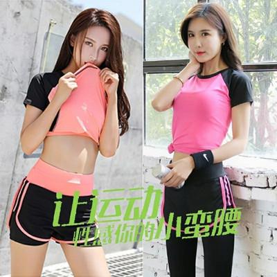 瑜伽运动套装女专业健身服健身房春夏韩国跑步两件套短袖短裤户外