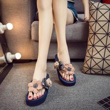 沙滩鞋女2017新款坡跟厚底人字拖夏季时尚凉拖鞋外穿百搭韩版海边