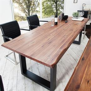 美式复古不规则办公桌洽谈桌实木会议桌设计师工作台餐桌椅组合