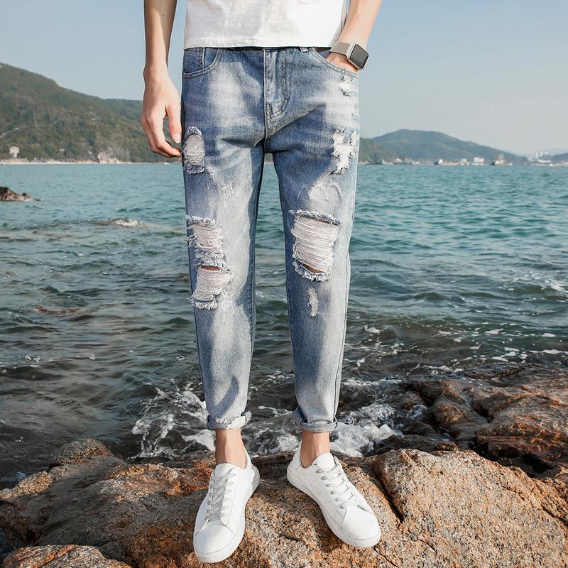 春季浅蓝牛子裤