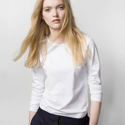 现货西班牙圆领内搭纯白色T恤女长袖百搭修身显瘦秋冬纯棉打底衫