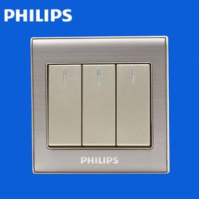飞利浦开关插座面板Q8系列香槟金带荧光三开单控开关86型三联单控