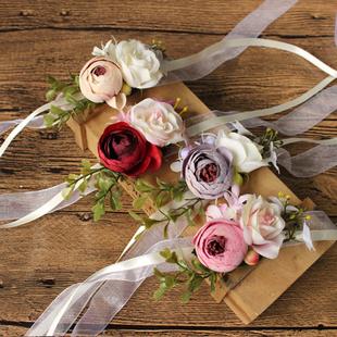 欧式婚礼新娘新郎写真摄影手腕花姐妹团胸花结婚用品新人手花