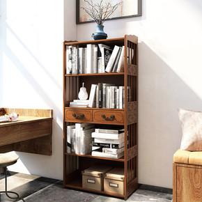 楠竹仿古书柜储物架高档中式书架落地创意组合书柜客厅茶室置物架