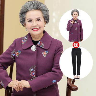 奶奶装秋冬装毛呢外套中长款中老年人女装60-70-80岁衣服唐装老人