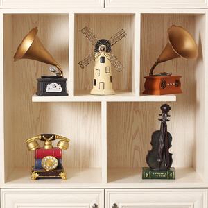 欧式怀旧复古摆件留声机美式创意家居客厅小摆设餐厅酒柜装饰品