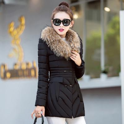 反季特价新反季节价冬季羽绒棉服女中长款修身大毛领外套加厚棉衣