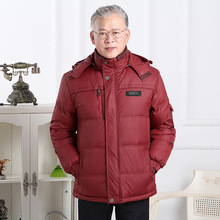 High-end autumn and winter clothes 2019 middle-aged and old people big red down jacket men's father wine red jacket