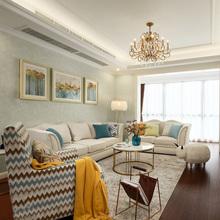 美式乡村布艺沙发 美式布艺1+2+3组合田园风格小户型客厅家具新品