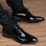 Summer men's British Korean version of the pointed breathable leather shoes leather business increased 6cm glossy casual men's shoes
