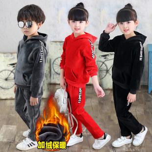 女童银狐绒冬装4男童5卫衣8套装9儿童装6冬季3加绒加厚两件套10岁