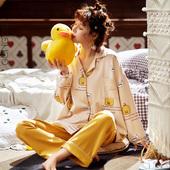 小黄鸭小个子学生家居服 两件套装 宫蝶2019睡衣女春秋纯棉长袖 薄款图片