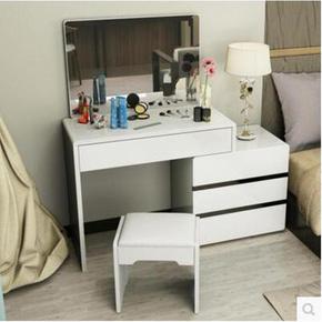 板式卧室梳妆台简约现代时尚烤漆化妆柜简易欧式白色小户型化妆桌