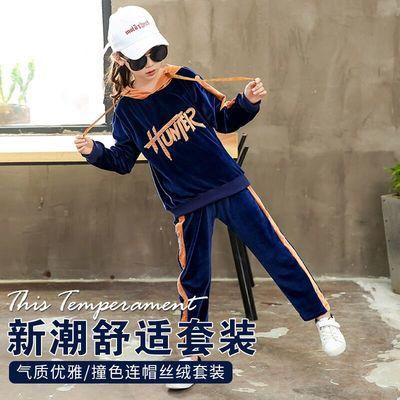女童秋冬撞色连帽丝绒套装2018新款韩版潮衣中大童洋气时尚两件套