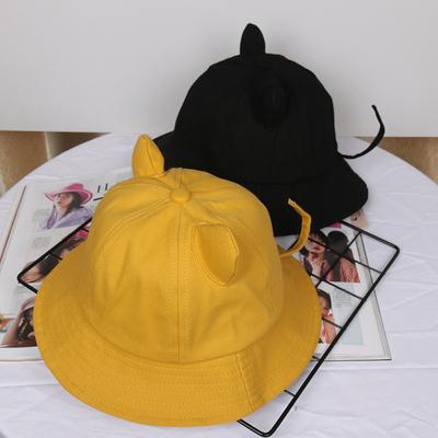 渔夫帽女可爱软妹春夏天猫咪耳朵黄色小尾巴盆帽子ins学生遮阳