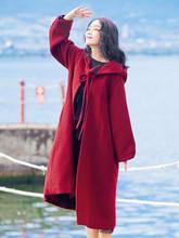 连帽斗篷法式少女复古呢子外套女 毛呢大衣中长款 2019冬季新款 女装图片