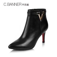 千百度冬季牛皮高跟女靴短靴A6552030C.BANNER