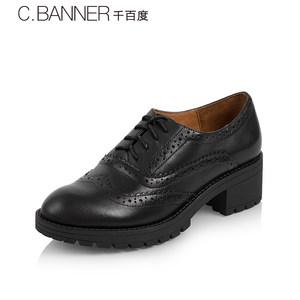 C.BANNER/千百度春秋商场同款满帮系带深口方跟女鞋单鞋A7422608