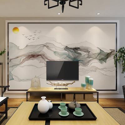 新中式墻紙 電視墻壁紙 背景墻手繪水墨山水畫藝術定制壁畫3d墻布